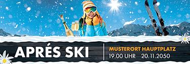Werbebanner Apres Ski Huette Orange